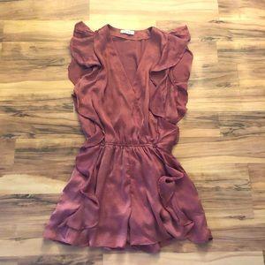 NWOT Women's Satin Coral Pink Dress Romper
